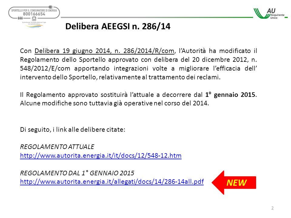 Delibera AEEGSI n. 286/14 Con Delibera 19 giugno 2014, n. 286/2014/R/com, l'Autorità ha modificato il Regolamento dello Sportello approvato con delibe