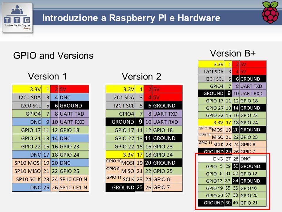 Version 1 Introduzione a Raspberry PI e Hardware Version 2 Version B+ GPIO and Versions