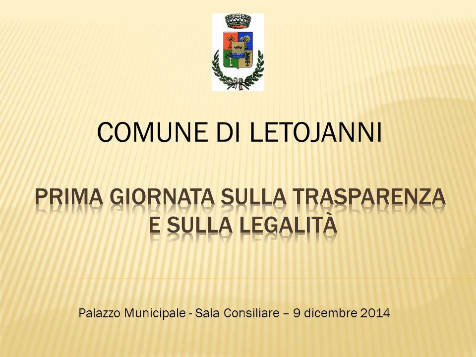 COMUNE DI LETOJANNI Palazzo Municipale - Sala Consiliare – 9 dicembre 2014