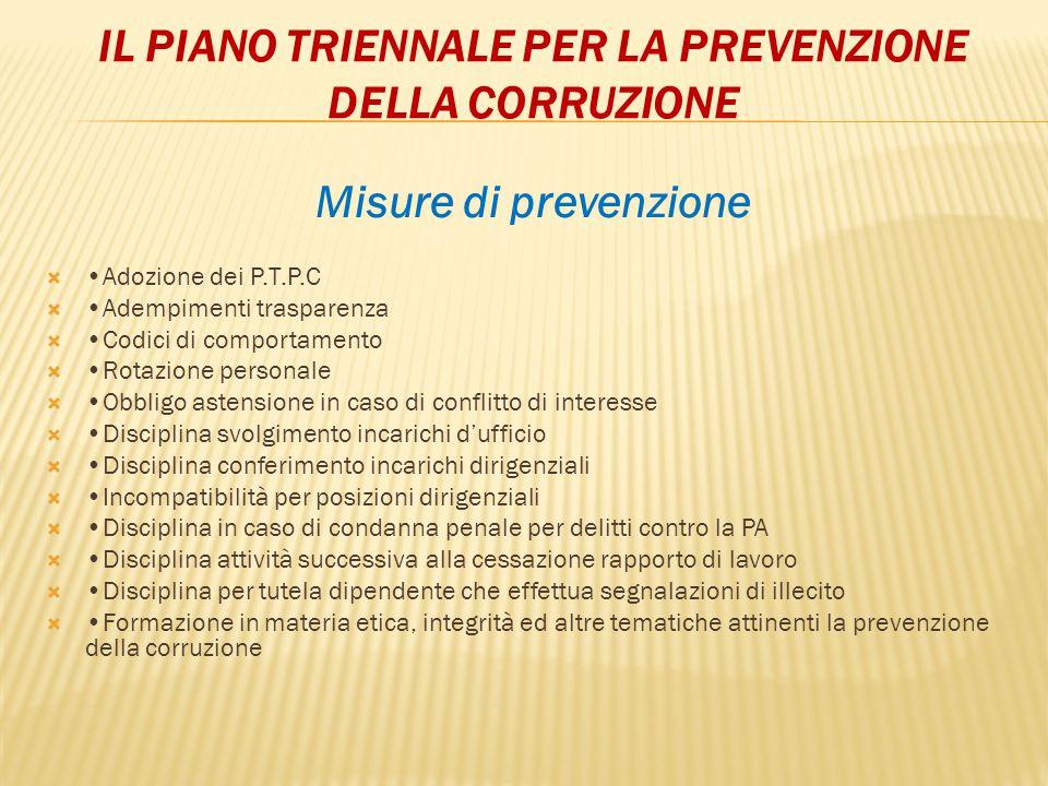 IL PIANO TRIENNALE PER LA PREVENZIONE DELLA CORRUZIONE Misure di prevenzione  Adozione dei P.T.P.C  Adempimenti trasparenza  Codici di comportament