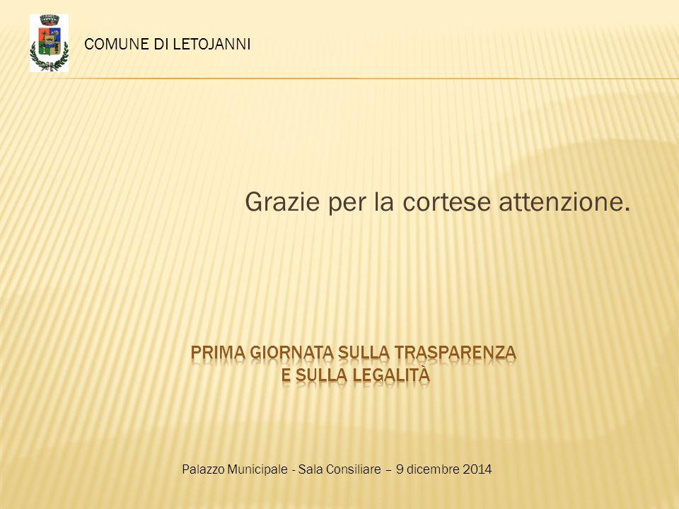 Grazie per la cortese attenzione. COMUNE DI LETOJANNI Palazzo Municipale - Sala Consiliare – 9 dicembre 2014