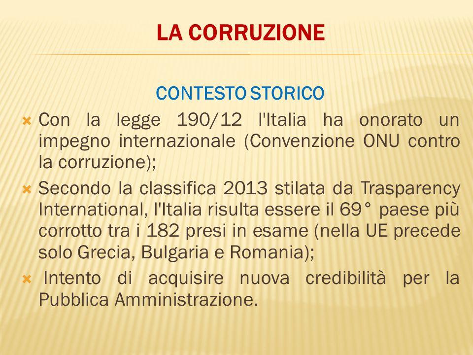 LA CORRUZIONE CONTESTO STORICO  Con la legge 190/12 l'Italia ha onorato un impegno internazionale (Convenzione ONU contro la corruzione);  Secondo l