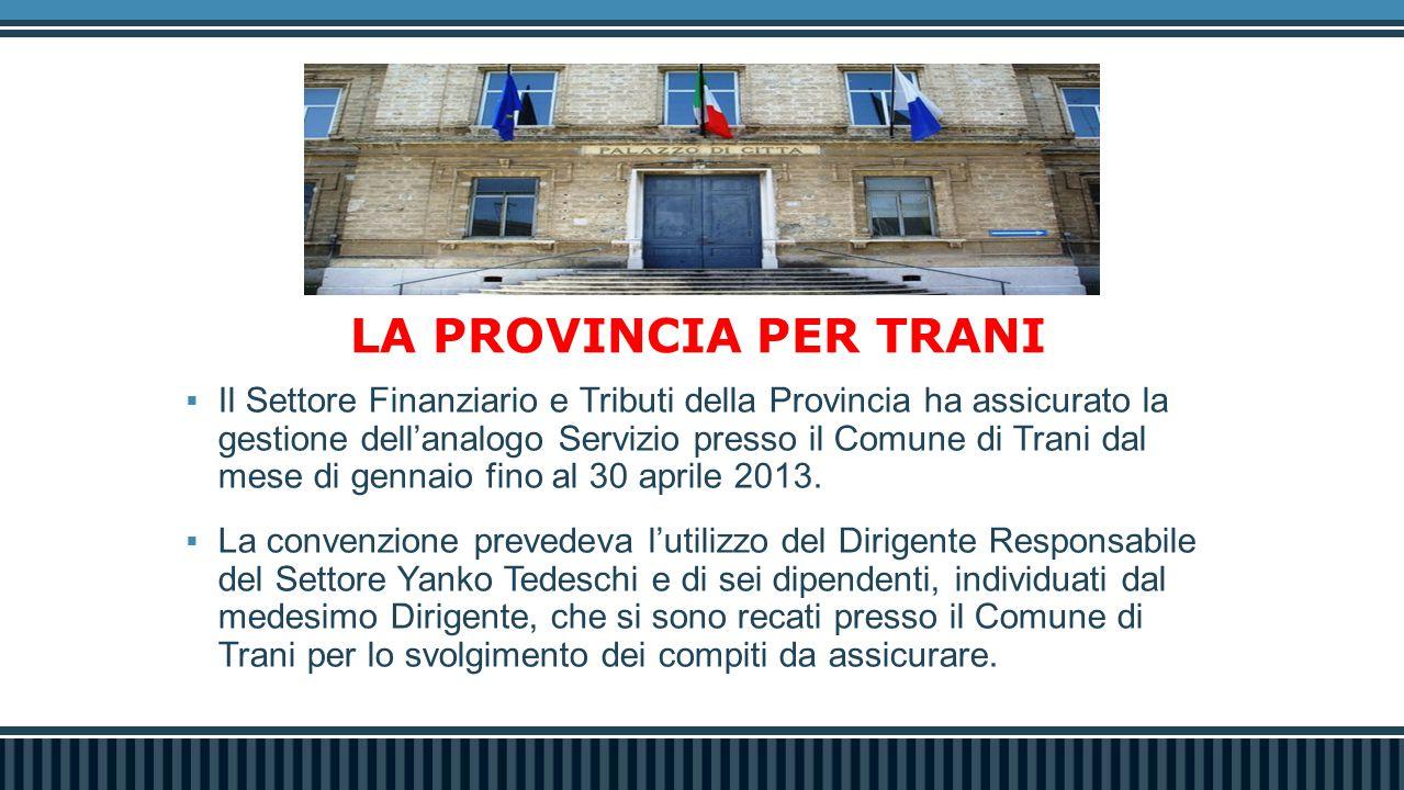 LA PROVINCIA PER TRANI  Il Settore Finanziario e Tributi della Provincia ha assicurato la gestione dell'analogo Servizio presso il Comune di Trani dal mese di gennaio fino al 30 aprile 2013.