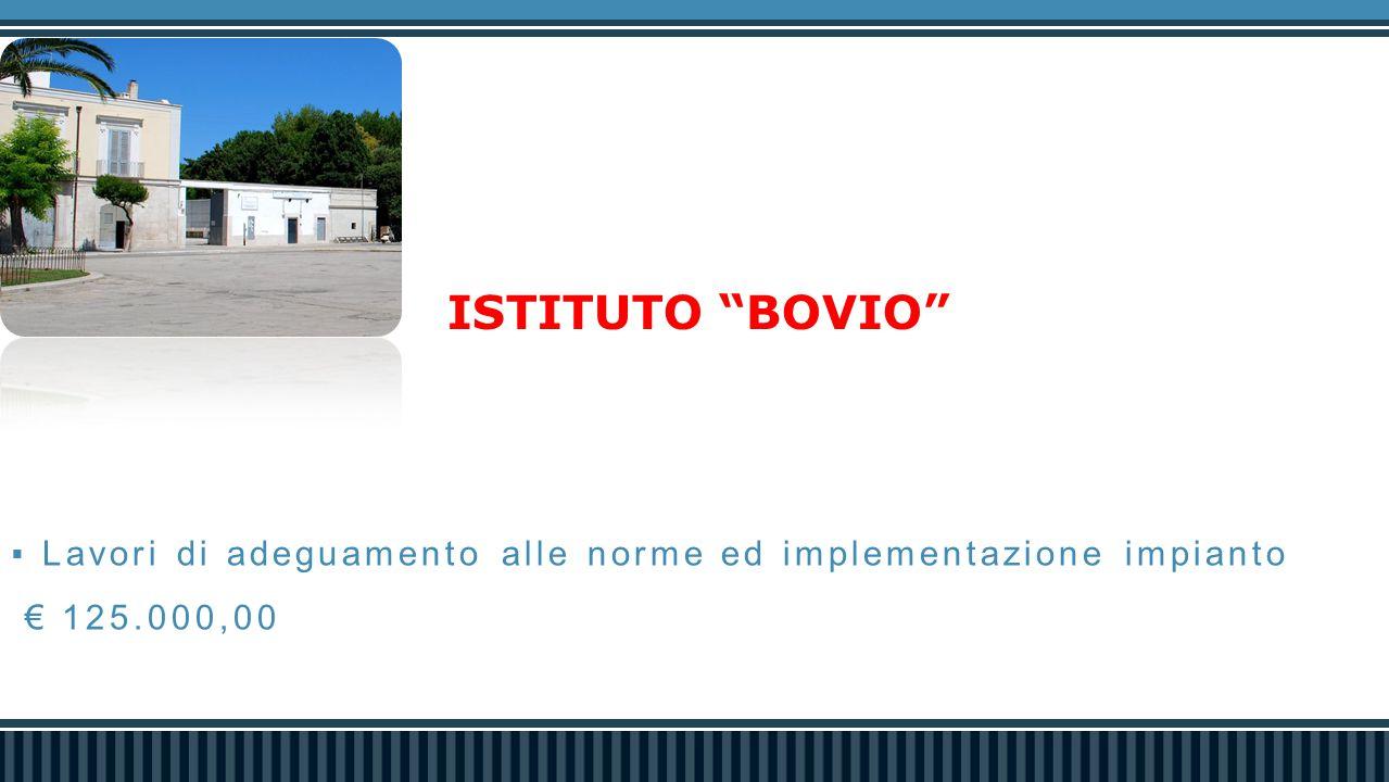 ISTITUTO BOVIO  Lavori di adeguamento alle norme ed implementazione impianto € 125.000,00