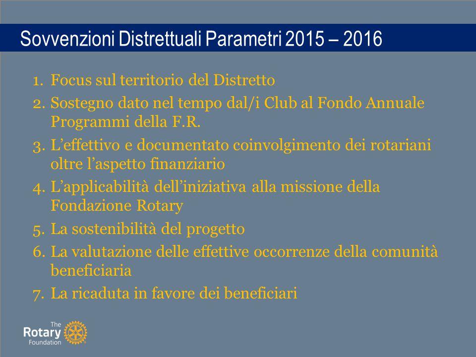 Sovvenzioni Distrettuali Parametri 2015 – 2016 1.Focus sul territorio del Distretto 2.Sostegno dato nel tempo dal/i Club al Fondo Annuale Programmi della F.R.