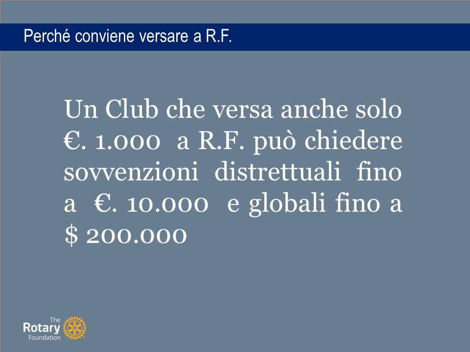 Perché conviene versare a R.F. Un Club che versa anche solo €.