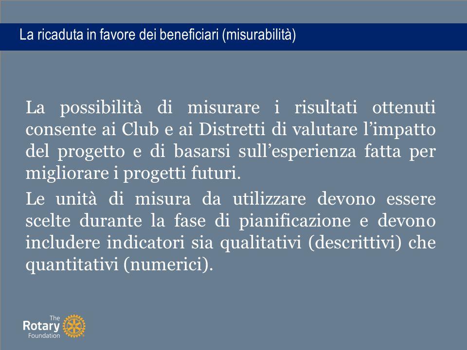 La ricaduta in favore dei beneficiari (misurabilità) La possibilità di misurare i risultati ottenuti consente ai Club e ai Distretti di valutare l'impatto del progetto e di basarsi sull'esperienza fatta per migliorare i progetti futuri.