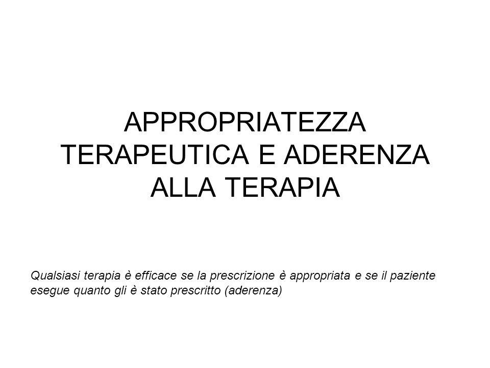 APPROPRIATEZZA TERAPEUTICA E ADERENZA ALLA TERAPIA Qualsiasi terapia è efficace se la prescrizione è appropriata e se il paziente esegue quanto gli è