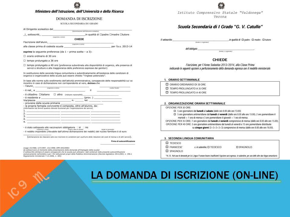 LA DOMANDA DI ISCRIZIONE (ON-LINE) IC 9 e