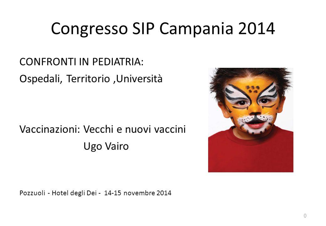 Congresso SIP Campania 2014 CONFRONTI IN PEDIATRIA: Ospedali, Territorio,Università Vaccinazioni: Vecchi e nuovi vaccini Ugo Vairo Pozzuoli - Hotel de