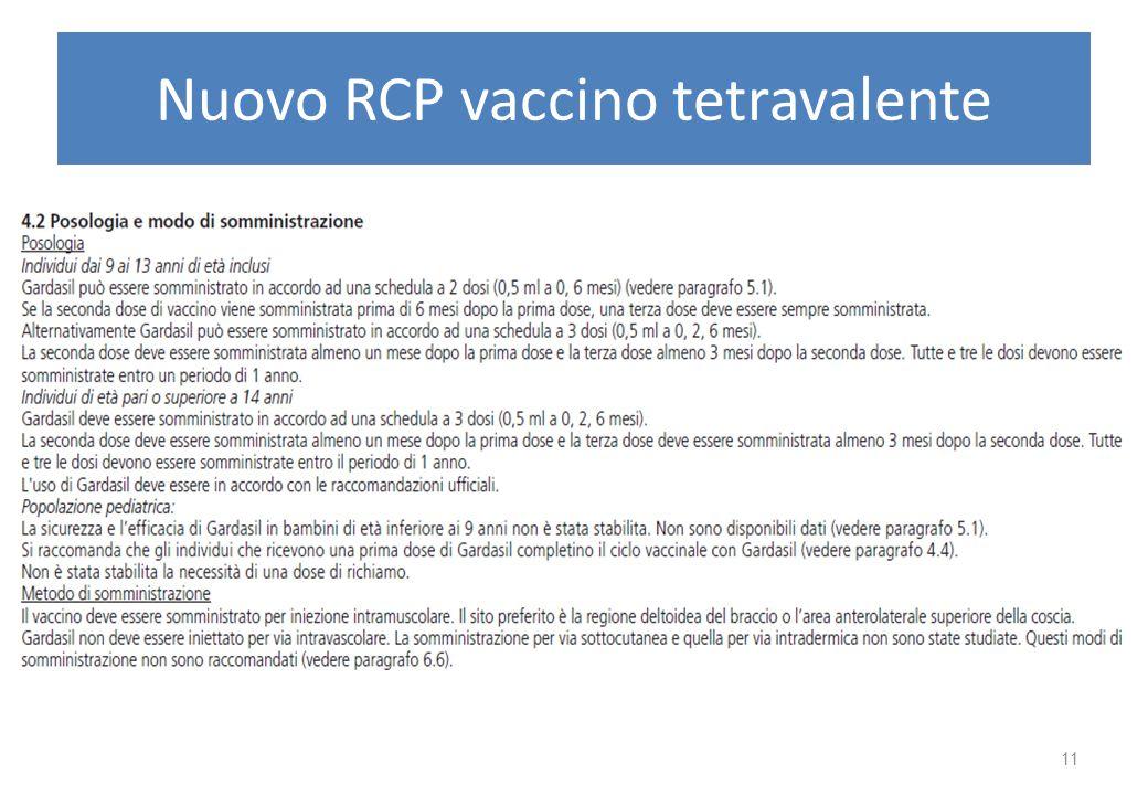 Nuovo RCP vaccino tetravalente 11