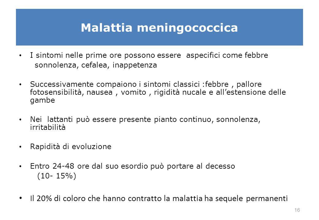 Malattia meningococcica I sintomi nelle prime ore possono essere aspecifici come febbre sonnolenza, cefalea, inappetenza Successivamente compaiono i s