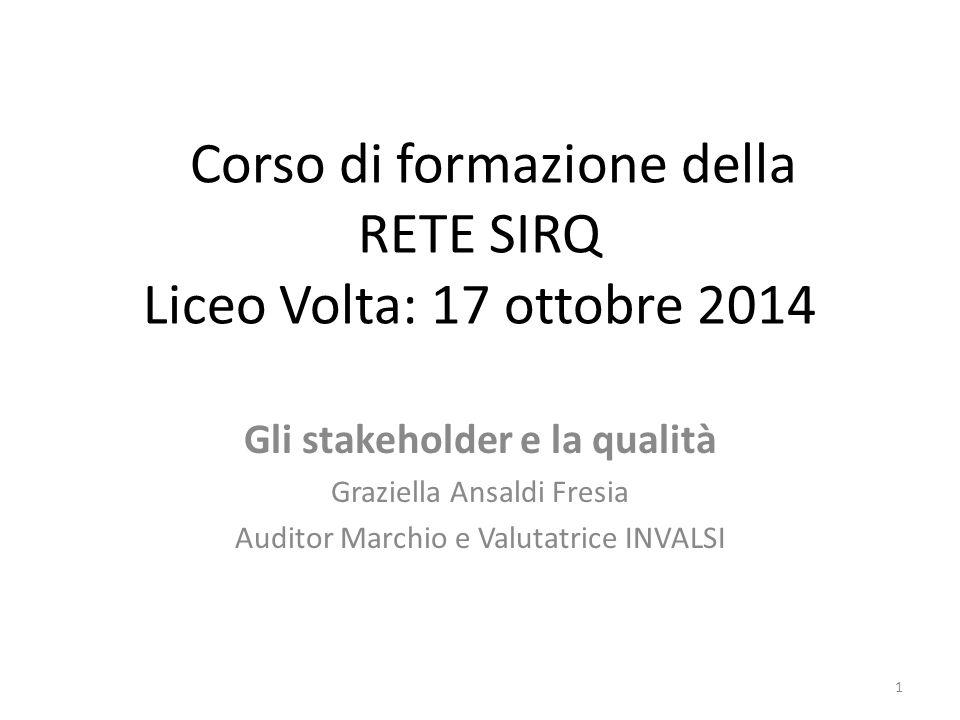 Corso di formazione della RETE SIRQ Liceo Volta: 17 ottobre 2014 Gli stakeholder e la qualità Graziella Ansaldi Fresia Auditor Marchio e Valutatrice I