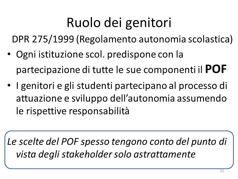 Ruolo dei genitori DPR 275/1999 (Regolamento autonomia scolastica) Ogni istituzione scol. predispone con la partecipazione di tutte le sue componenti