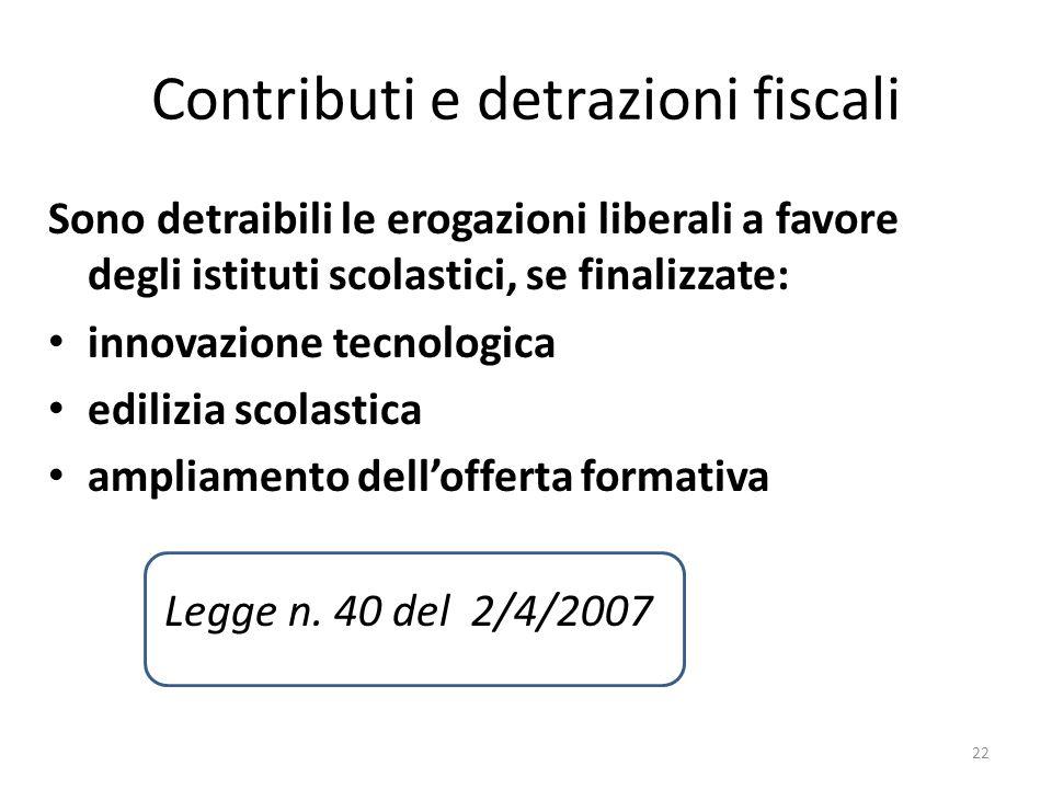 Contributi e detrazioni fiscali Sono detraibili le erogazioni liberali a favore degli istituti scolastici, se finalizzate: innovazione tecnologica edi