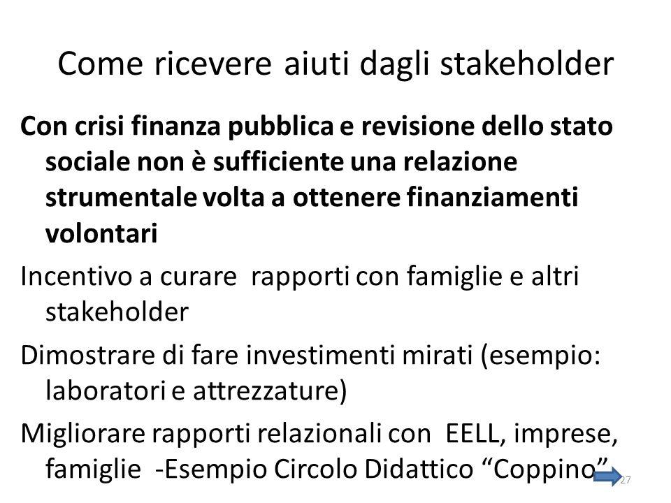 Come ricevere aiuti dagli stakeholder Con crisi finanza pubblica e revisione dello stato sociale non è sufficiente una relazione strumentale volta a o