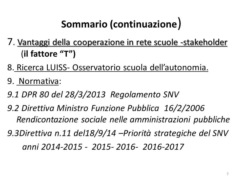 Sommario (continuazione ) Vantaggi della cooperazione in rete scuole -stakeholder 7. Vantaggi della cooperazione in rete scuole -stakeholder (il fatto