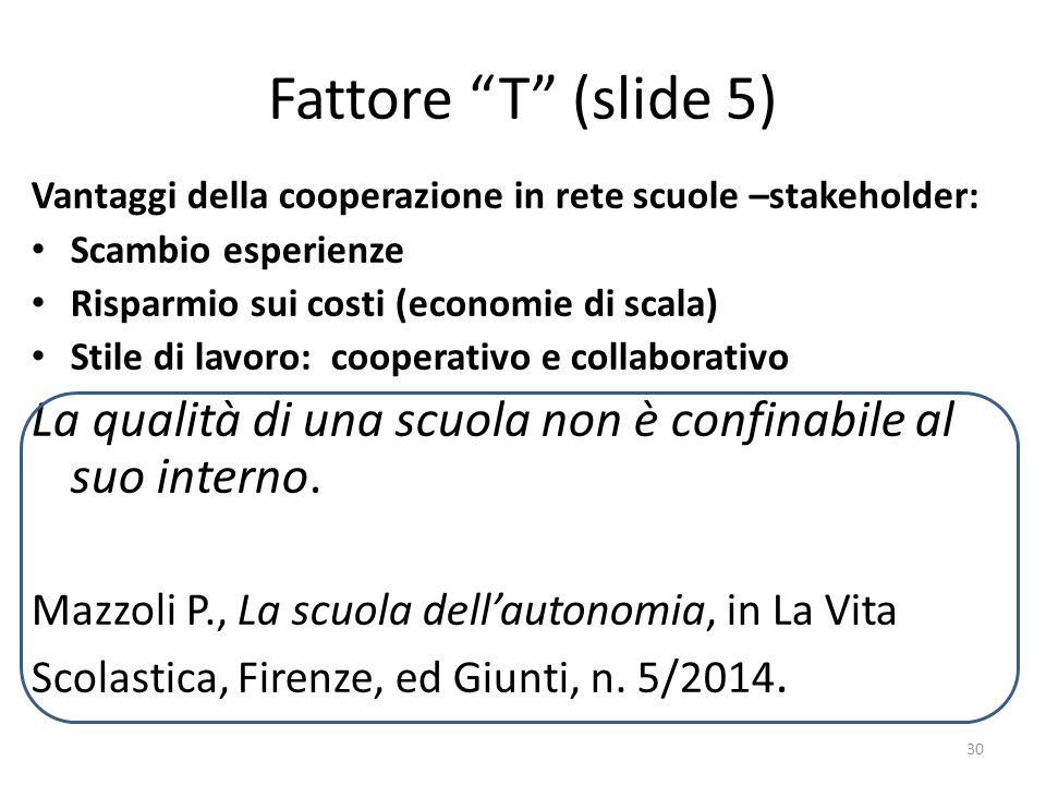 """Fattore """"T"""" (slide 5) Vantaggi della cooperazione in rete scuole –stakeholder: Scambio esperienze Risparmio sui costi (economie di scala) Stile di lav"""