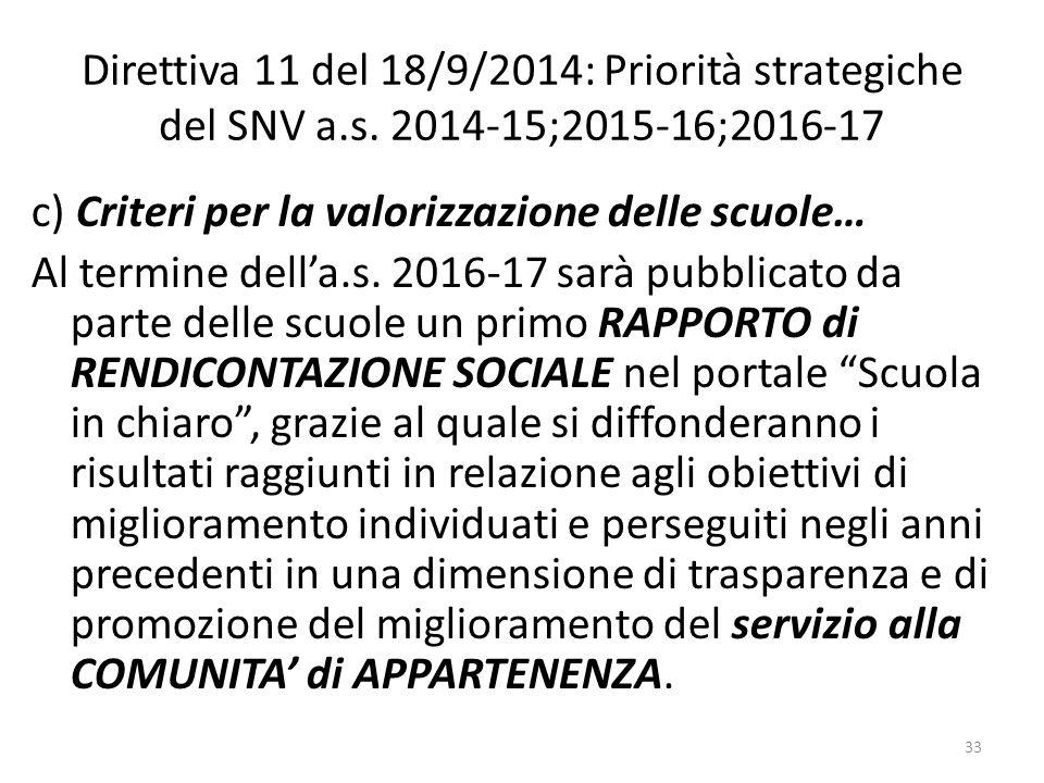 Direttiva 11 del 18/9/2014: Priorità strategiche del SNV a.s. 2014-15;2015-16;2016-17 c) Criteri per la valorizzazione delle scuole… Al termine dell'a