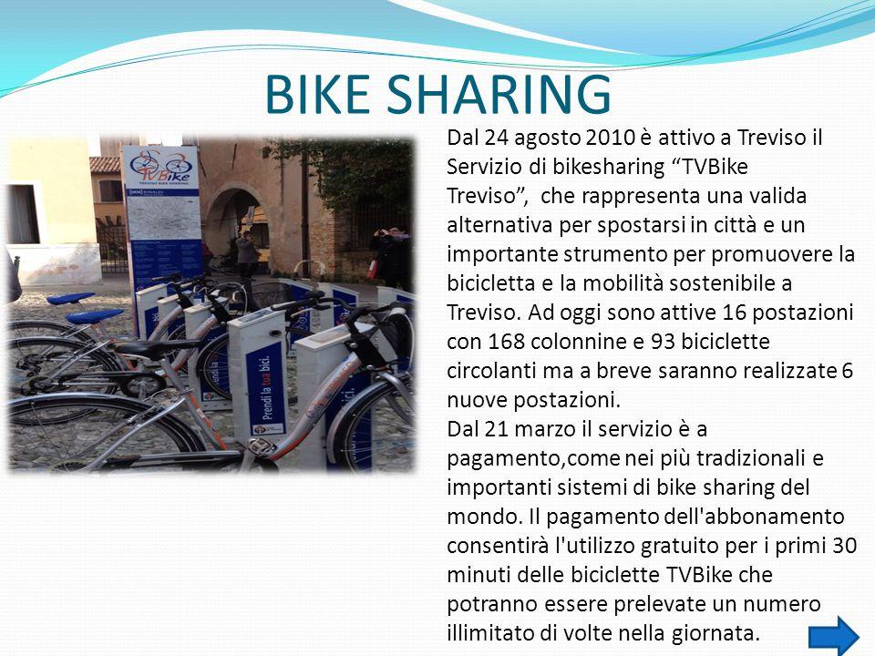 """BIKE SHARING Dal 24 agosto 2010 è attivo a Treviso il Servizio di bikesharing """"TVBike Treviso"""", che rappresenta una valida alternativa per spostarsi i"""