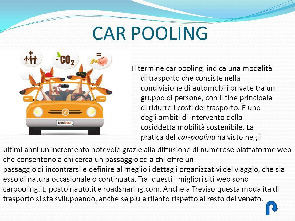CAR POOLING Il termine car pooling indica una modalità di trasporto che consiste nella condivisione di automobili private tra un gruppo di persone, co