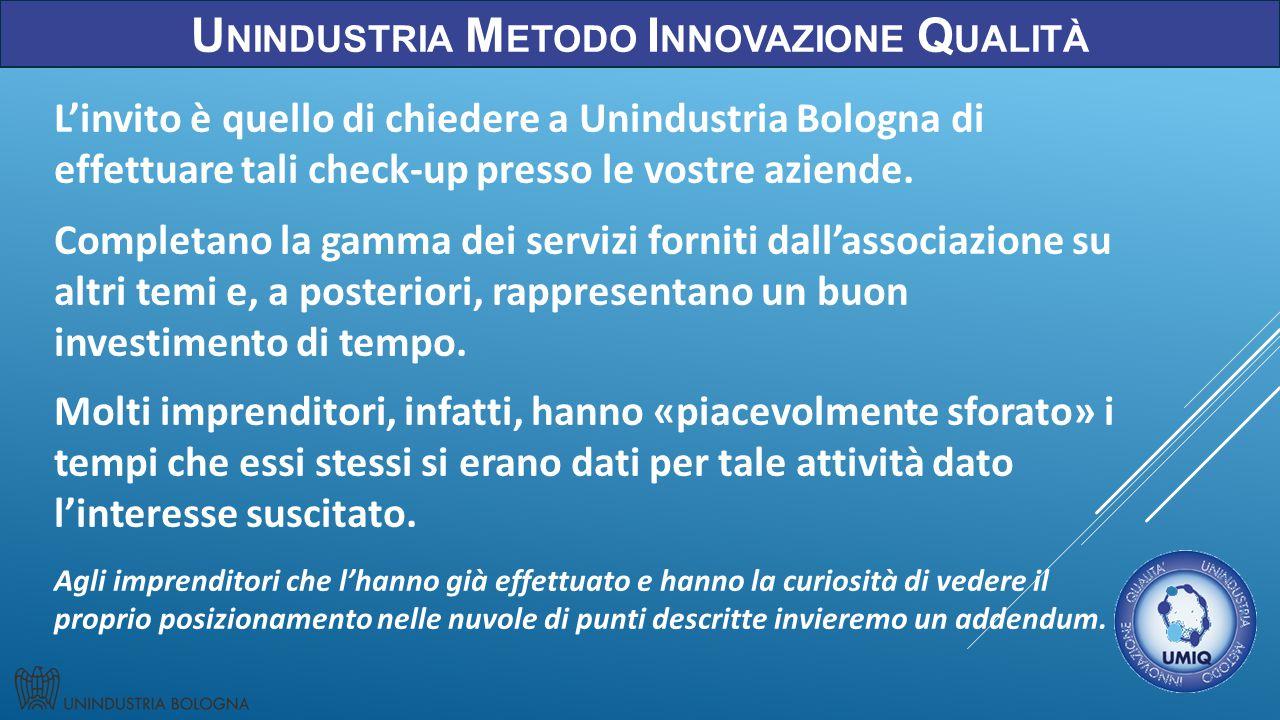 U NINDUSTRIA M ETODO I NNOVAZIONE Q UALITÀ L'invito è quello di chiedere a Unindustria Bologna di effettuare tali check-up presso le vostre aziende.