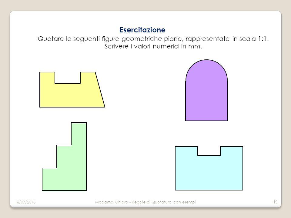 Esercitazione Quotare le seguenti figure geometriche piane, rappresentate in scala 1:1. Scrivere i valori numerici in mm. 16/07/2013Madama Chiara - Re