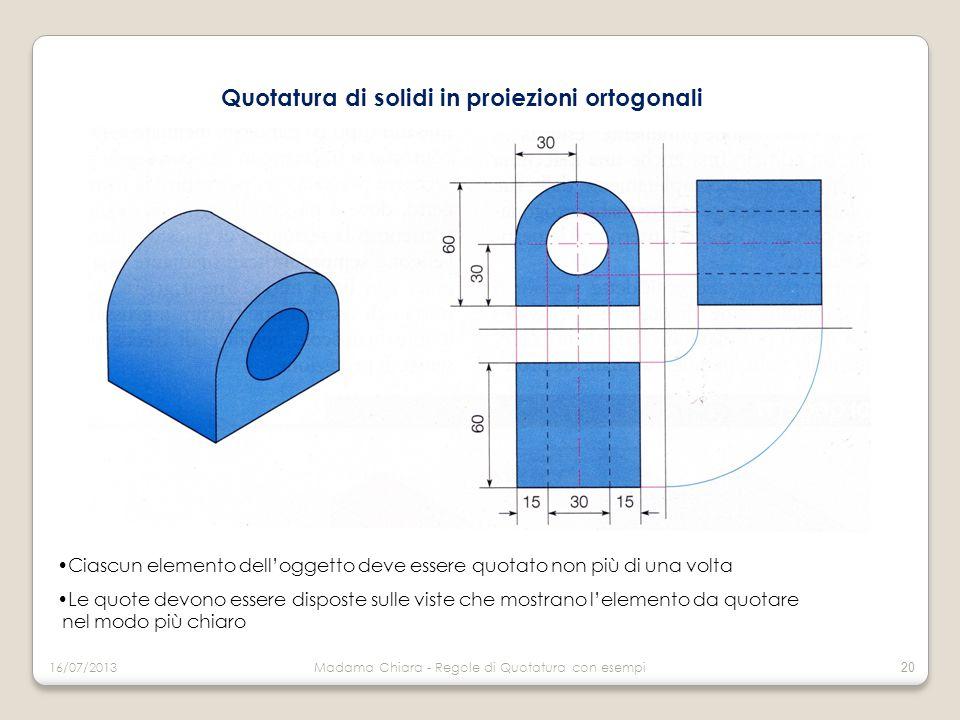 Quotatura di solidi in proiezioni ortogonali Ciascun elemento dell'oggetto deve essere quotato non più di una volta Le quote devono essere disposte su