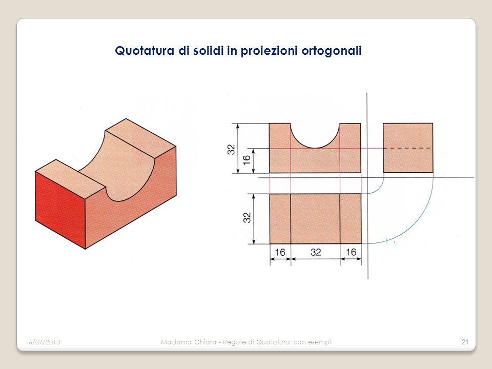 Quotatura di solidi in proiezioni ortogonali 16/07/2013Madama Chiara - Regole di Quotatura con esempi 21