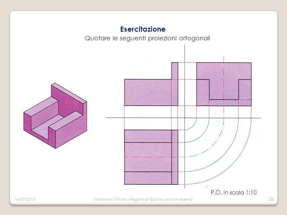 Esercitazione Quotare le seguenti proiezioni ortogonali P.O. in scala 1:10 16/07/2013Madama Chiara - Regole di Quotatura con esempi 22