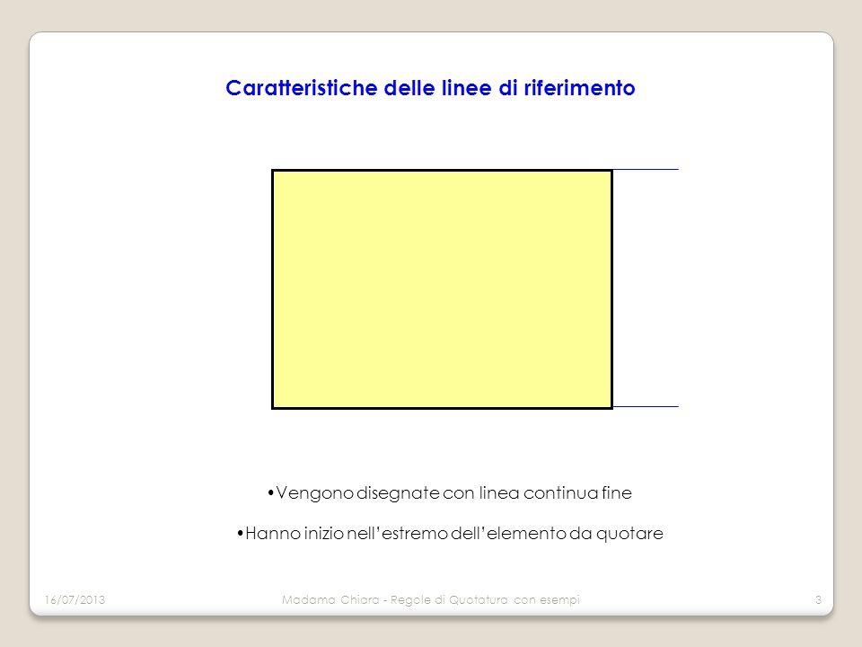 Caratteristiche delle linee di riferimento Vengono disegnate con linea continua fine Hanno inizio nell'estremo dell'elemento da quotare 16/07/2013Madama Chiara - Regole di Quotatura con esempi4