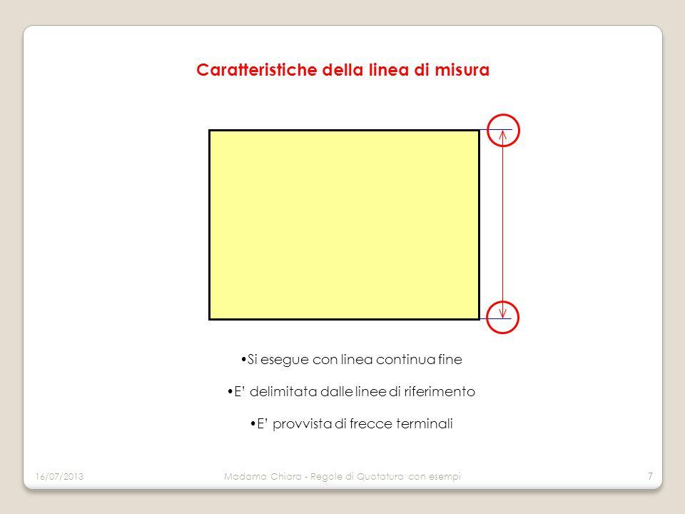 Le estremità possono essere: frecce terminali (aperte o chiuse annerite) Tratti inclinati a 45° rispetto alla linea di misura Punto, quando non vi è spazio sufficiente per frecce NOTA BENE In un disegno si deve usare lo stesso tipo di freccia terminale Caratteristiche della linea di misura 16/07/2013Madama Chiara - Regole di Quotatura con esempi 8