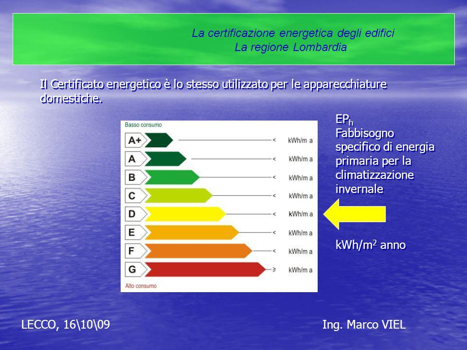 LECCO, 16\10\09Ing. Marco VIEL La certificazione energetica degli edifici La regione Lombardia Il Certificato energetico è lo stesso utilizzato per le