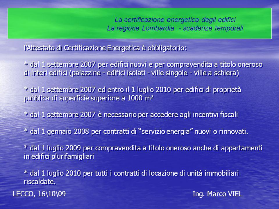 LECCO, 16\10\09Ing. Marco VIEL La certificazione energetica degli edifici La regione Lombardia - scadenze temporali l'Attestato di Certificazione Ener