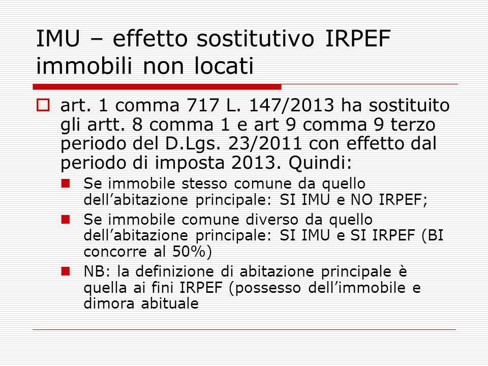 IMU – effetto sostitutivo IRPEF immobili non locati  art.