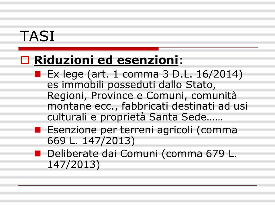TASI  Riduzioni ed esenzioni: Ex lege (art. 1 comma 3 D.L.