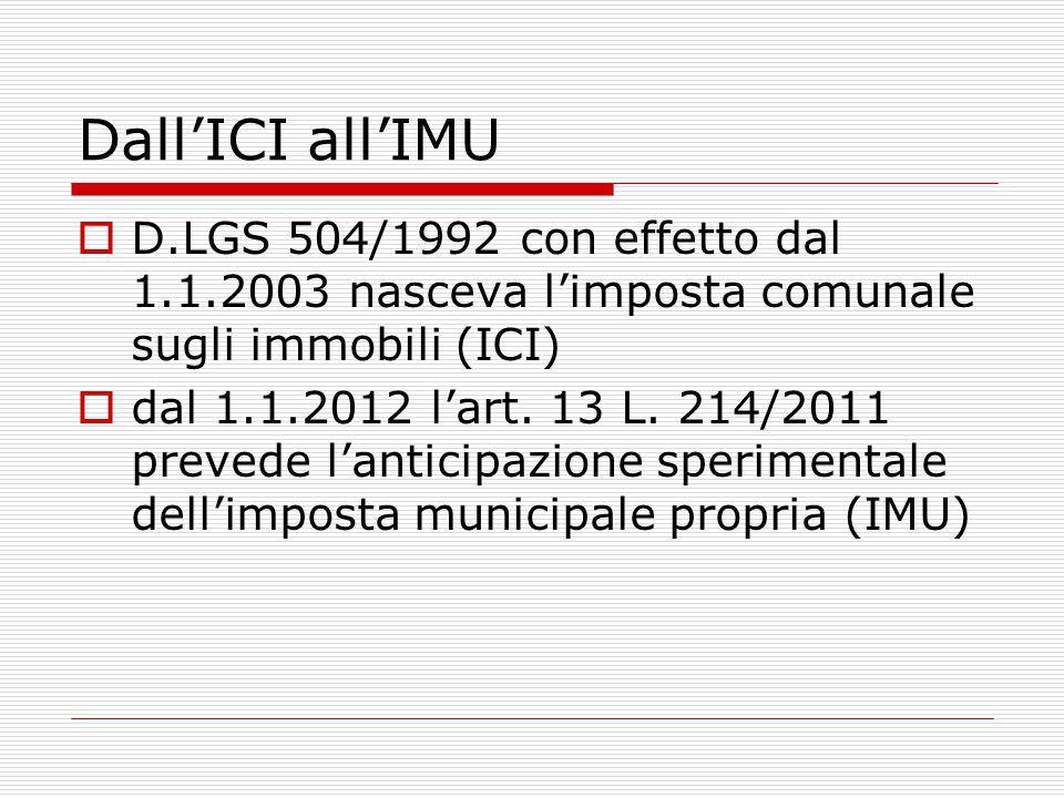Dall'ICI all'IMU  D.LGS 504/1992 con effetto dal 1.1.2003 nasceva l'imposta comunale sugli immobili (ICI)  dal 1.1.2012 l'art.