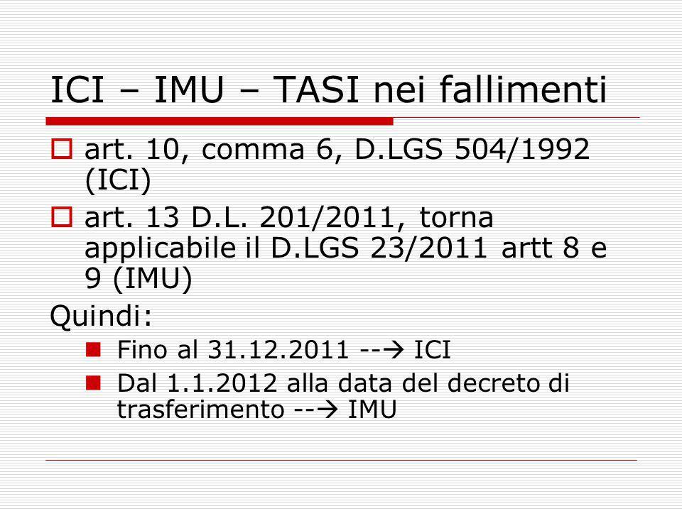 ICI – IMU – TASI nei fallimenti  art. 10, comma 6, D.LGS 504/1992 (ICI)  art.