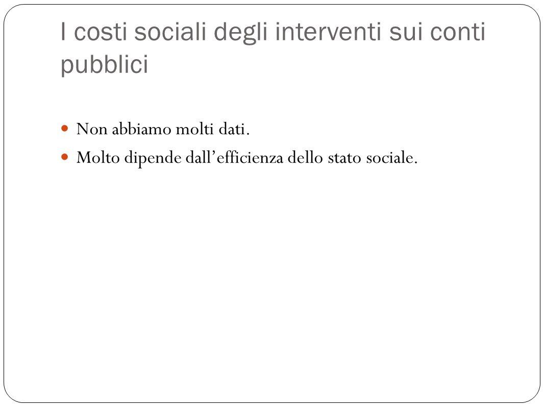 I costi sociali degli interventi sui conti pubblici Non abbiamo molti dati.
