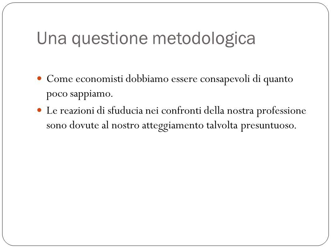 Una questione metodologica Come economisti dobbiamo essere consapevoli di quanto poco sappiamo.