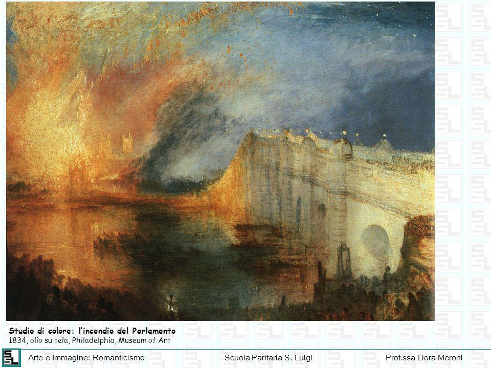 Arte e Immagine: RomanticismoScuola Paritaria S. LuigiProf.ssa Dora Meroni Studio di colore: l'incendio del Parlamento 1834, olio su tela, Philadelphi