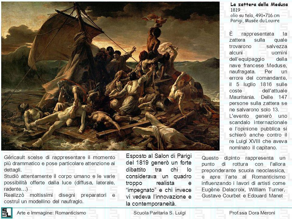 Arte e Immagine: RomanticismoScuola Paritaria S. LuigiProf.ssa Dora Meroni La zattera della Medusa 1819 olio su tela, 491×716 cm Parigi, Musée du Louv