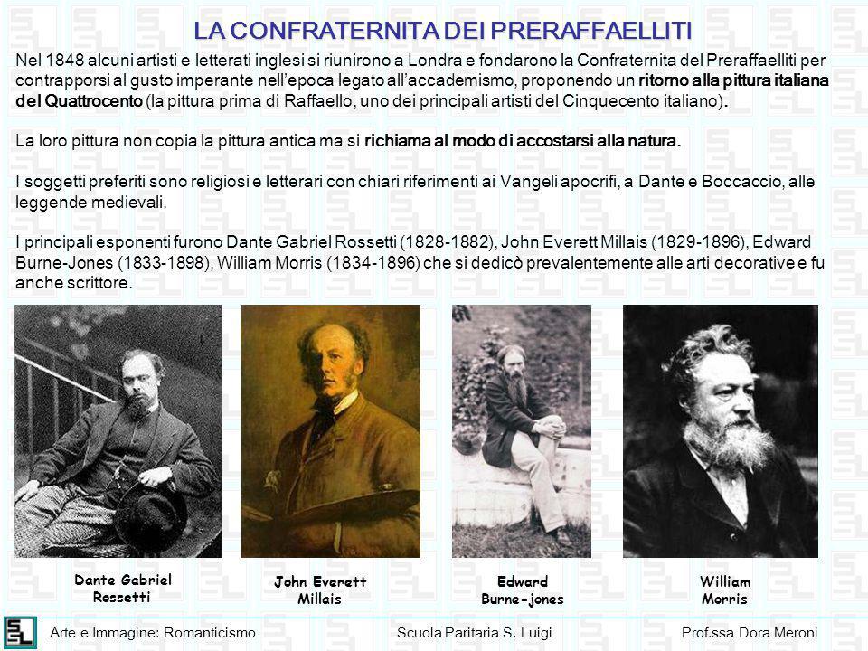 Arte e Immagine: RomanticismoScuola Paritaria S. LuigiProf.ssa Dora Meroni Nel 1848 alcuni artisti e letterati inglesi si riunirono a Londra e fondaro