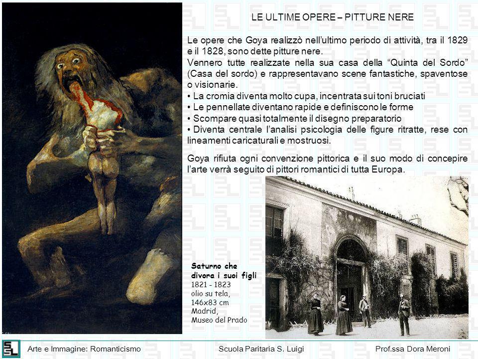 Arte e Immagine: RomanticismoScuola Paritaria S. LuigiProf.ssa Dora Meroni LE ULTIME OPERE – PITTURE NERE Saturno che divora i suoi figli 1821 - 1823