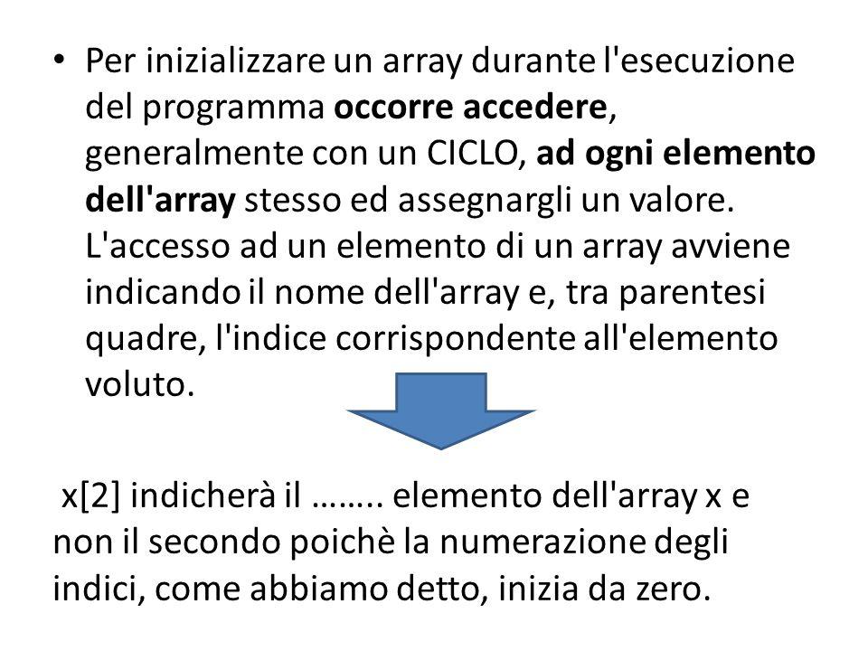 Per inizializzare un array durante l esecuzione del programma occorre accedere, generalmente con un CICLO, ad ogni elemento dell array stesso ed assegnargli un valore.