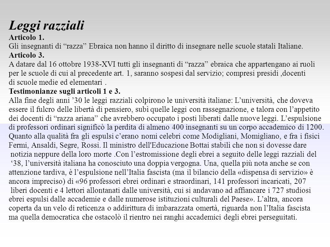 """Leggi razziali Articolo 1. Gli insegnanti di """"razza"""" Ebraica non hanno il diritto di insegnare nelle scuole statali Italiane. Articolo 3. A datare dal"""