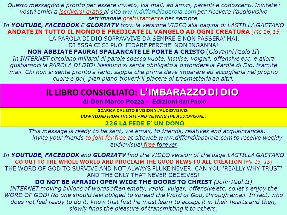 Questo messaggio è pronto per essere inviato, via mail, ad amici, parenti e conoscenti. Invitate i vostri amici a iscriversi gratis al sito www.diffon