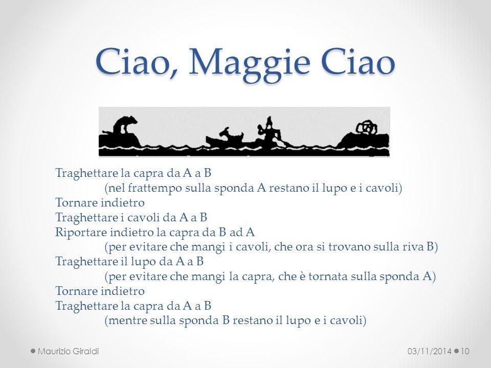 Ciao, Maggie Ciao 03/11/2014Maurizio Giraldi10 Traghettare la capra da A a B (nel frattempo sulla sponda A restano il lupo e i cavoli) Tornare indietr