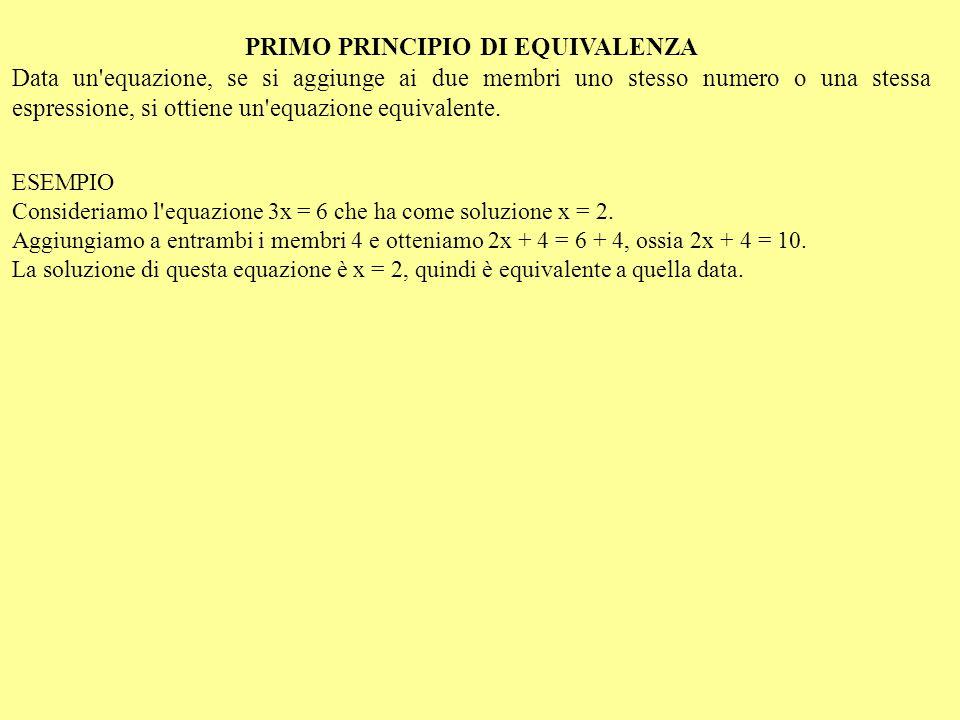 LE APPLICAZIONI DEL PRIMO PRINCIPIO REGOLA DEL TRASPORTO Data un equazione, se ne ottiene una equivalente se si trasporta un termine da un membro all altro, cambiandolo di segno REGOLA DI CANCELLAZIONE Termini uguali presenti in entrambi i membri di un equazione possono essere soppressi, ottenendo un equazione equivalente.