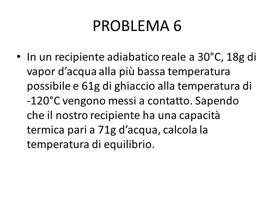 PROBLEMA 6 In un recipiente adiabatico reale a 30°C, 18g di vapor d'acqua alla più bassa temperatura possibile e 61g di ghiaccio alla temperatura di -120°C vengono messi a contatto.